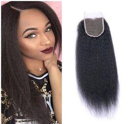Wholesale Chinese Afro Kinky Curly - 8A Peruvian Kinky Straight Wave 4x4 Lace Closure Brazilian Afro Kinky Straight Wave Hair Weave Human Hair Extensions