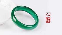 Piedras verdes chinas online-Pulsera de brazalete de piedra verde hermosa natural china hecha a mano 56mm-62mm