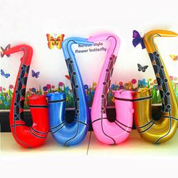 Saxofone colorido on-line-1 Peça 75 CM Inflável Saxofone Saxofone Instrumento Musical Brinquedo Fancy Dress Party Adereços Brinquedos Cor Aleatória Forma Divertida Crianças Brinquedos P20