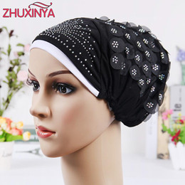 Wholesale flower hijab green - 2017 New Design Islamic Scarves Wraps Hijab caps Womens Muslim Inclusive Cap Crystal Flower Muslims Hat hijab undercaps black
