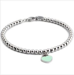 Liebhaber Lucky Silber Perlen Titan Stahl Perlen Charms Armbänder mit rosa blauen Emaille Herz Anhänger von Fabrikanten