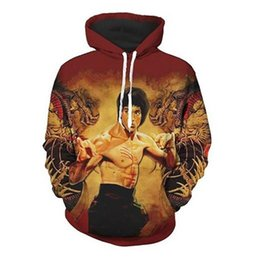 chinese hip hop fashion Coupons - Fashion Chinese Kongfu 3D Bruce Lee Hoodie Men Boys Casual Hoodie Loose Pullover Hip Hop Hoodies