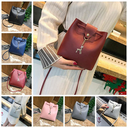 Wholesale Plain Cross Pendant - Women Leather Shoulder Bucket Bag Deer Pendant Casual Tote Satchel Mini Handbag Messenger Bag Cross Body Bag OOA4287