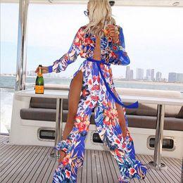 Wholesale Ladies Long Dress Coats - Cover Up Printed Shoulder Beach coat Womens Beachwear Swimwear Bikini Beach Ladies Summer Dress W650896