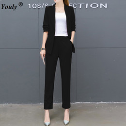 formal elegant women suits Promo Codes - Pant Suits Women Casual Office Business Suits Formal Work Sets 2017 autumn Elegant Office Women Blazer Pant Two piece set
