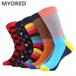 Wholesale Men Colorful Socks - MYORED brand new men socks colorful combed cotton summer winter long socks Jacquard knitting sock for man business dress