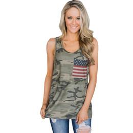 сексуальная розовая трубка Скидка Женщины танк Camis летние топы камуфляж флаг США танки Дикий шею без рукавов женские блузки уличная повседневная жилет