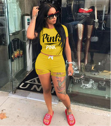 Wholesale European Style Women Suit - Pink letter print tracksuit women European Style Tracksuit Set top and pants casual outfit sweat suits EEA265