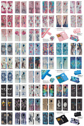 Wholesale Iphone 3d Skull - 3D Bling Wallet With Strape Stand Flip PU Leather Case Owl Skull Flower Unicorn TPU Cover For iPhone X 8 7 6 6S Samsung Galaxy S9 Plus