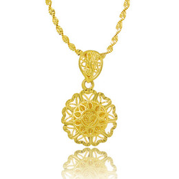 Wholesale wholesale 24k gold china - Fashion 24k Gold Colou Chic Sun Pendant Necklaces For Women Men Jewelry Accessories Beads Chain (Pendant:1.9cm)CHN033