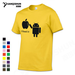 Футболки онлайн-YUANQISHUN Boutique T-shirt Android Robot I Fixed It Apple Funny Men T Shirts Creative Design Spoof Tshirt Cotton Casual Top Tee
