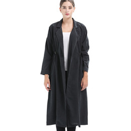 Cappotto di trincea diritta online-Donna Trench Lunghezza Fashion Stitching A Buckle 2018 Autunno Retrò Temperamento dritto antivento cappotto antivento