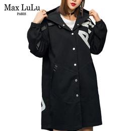 0ccc580244e Max Luxury Korean Vintage Girls Hooded Windbreaker Womens Black Denim  Trench Coat Punk Streetwear Female Clothes Plus Size