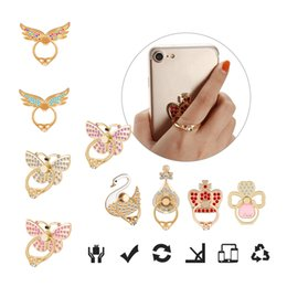 Wholesale diamond cellphone - Ring Phone Holder Bling Diamond Giltter Cellphone Holder Mix Style Fashion Holders for iPhone X Galaxy S9 Plus S8 Cellphones with OPP Bag