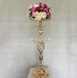Wholesale led crystal vase - tall 70cm Wedding flower Decoration iron vase Crystal Cake Stand hotel table centerpieces flower vase display wedding sign area road lead