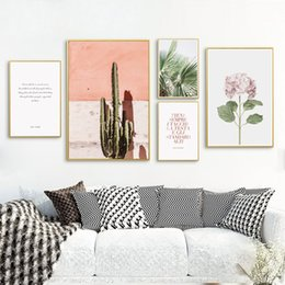 Wholesale tree pictures decorative - Nordic Decorative Cactus Palm Tree Personality Phrase Canvas Painting Posters And Prints Art Wall Picture Living Room Home Decor