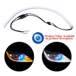 tubo de luz led amarillo Rebajas 2x60cm Car-Styling Angel Eye Daytime Running Light Guía universal del tubo Tira flexible suave del coche LED DRL Blanco Amarillo