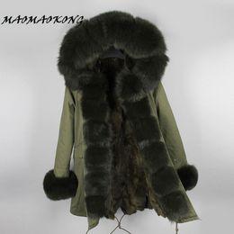 Wholesale Knitted Rabbit Fur Coat Black - New Women Winter Coat Real Fox Fur Hood Thick Rabbit Fur Lining Woman Parkas Female Overcoat Winter Clothing Brand 2017