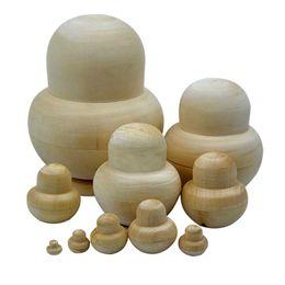 Wholesale pvc blanks wholesale - 10pcs New Wooden Embryos Russian Nesting Matryoshka Dolls Toys Unpainted DIY Blank for Children Kids Gift BM