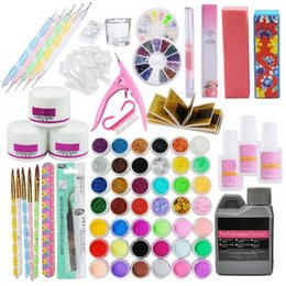 гель для жидких ногтей Скидка Pro Acrylic Power Manicure Nail Kit Acrylic Liquid Tips Cutter Glitter Rhinestones File Brush Manicure Nail Art Tool Set Gel Kit