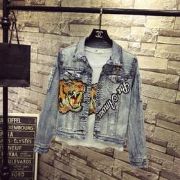 vaquero chaqueta Rebajas 2018 Nueva Fasion Otoño Mujeres Denim Jacket Coat tiger cock Bordado Apliques Cowboy Coat Mujer de manga larga Jeans Jacket