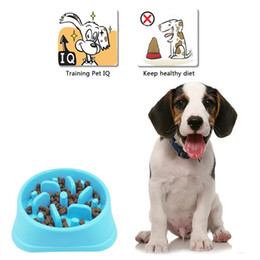 Wholesale food dieting - 3 Colors Pets Slow Feeder Bowl For Dog Cat Diet Anti-Gulping Bowl Healthy Food Feeder Dish Candy Color NNA99