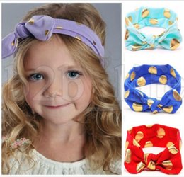 Wholesale gold hair bows - Baby Girls Gold Dot Knot Headbands Kids Knotted Bow Head bands Children Hair Accessories Head Wrap Lovely cute Infant Headwrap KKA5533