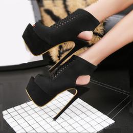 Wholesale Trendy Platform Heels - Trendy Black Open Back Cut Out High Platform Lace Up Shoes 17cm 2018 Summer size 34 to 40