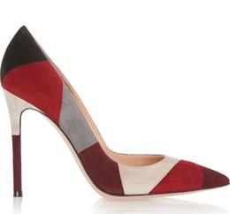 Vestidos de tacón de colores online-Freeshipping venta al por mayor gianvito rossi multil coloreada 10 cm de tacones altos bombas de las mujeres zapatos de fiesta zapatos de vestir de boda