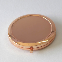 Espejo lateral compacto online-Alta calidad Plain Rose Gold Double Sided Travel Compact Espejo Dia 70mm / 2 .75 pulgadas 5 unids / lote
