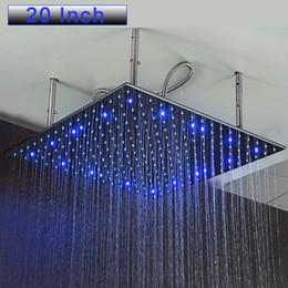 Grandes cabeças de chuveiro quadradas on-line-20 Polegada Banheiro Rainfall Spa Grandes Cabeças de Chuveiro Chuveiro de Chuva Montada Chuveiros de Teto Chuveiro de Chuva Quadrado Quadrado escova de Chuveiro