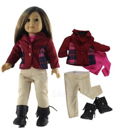 """Wholesale Boots Coat - 4in1 Set Doll Clothes Outfit Coat+top+pants+boots for 18"""" inch American Girl Doll"""