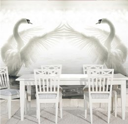 Wholesale lake mural - 3D large-scale murals Swan Lake TV background wallpaper wallpaper living room hotel sofa bedroom non-woven fabric