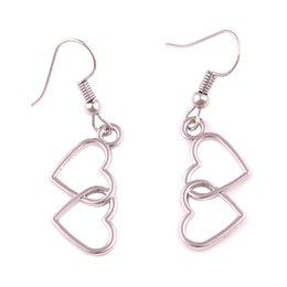 Двойное сердце падение серьги онлайн-Sliver Loverly Dual Double Hearts Dangle Earrings Hollow Drop Earrings Girls Women Fashion Jewelry Accessories Gifts