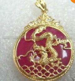 "qualidade da pérola aaa Desconto Red Jade Inlay Dragon pingente de colar 18 ""frete grátis"