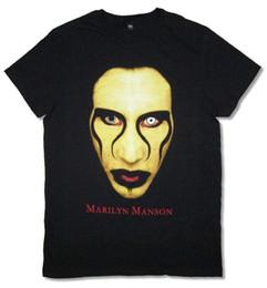 camisas marilyn manson Rebajas Marilyn Manson Crazy Eyes Close Up Imagen de la cara Camiseta negra Nuevas camisetas oficiales de la marca Soft jeans Imprimir