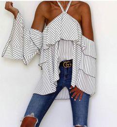 Blusas halter online-2018041139 Nuevas Mujeres Blusas de Manga Larga Sexy Halter Off Raya del Hombro Camisa Mujeres Street Wear Mujeres Elegantes Tops