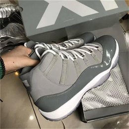 Wholesale High Low Style Sneaker - Originals 11 XI High Cool Grey Men Basketball Shoes Real Carbon Fiber Smooth 11s Authentic Sneakers Shoes 2010 Style US 7-12