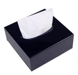 Scatole quadrate acriliche online-Deluxe Deluxe quadrato acrilico Counter Top Tissue Storage Box Organizer Holder Cover Vassoio del tessuto per auto