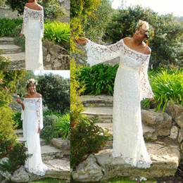 847290447df3 Vintage Crochet Lace Bohemian Wedding Dresses with Long Bell Sleeve 2019  Off Shoulder Outdoor Beach Boho Country Bridal Wedding Gown