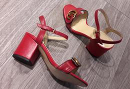 Wholesale Black Block Heels - Fashion week women retro block heels Marmont embellished leather sandals open toe Sandallias hardware decoration heels summer sandals