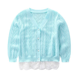 Wholesale princess cardigan - Girls sweater cardigan autumn children hollow knitted V-neck long sleeve tops kids splicing lace gauze embroidery princess outwear Y9080