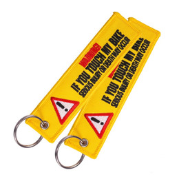 keychains tags Coupons - Warning Keychain Tag Keychains for Motorcycles and Cars Key Tag Embroidery Yellow Danger Launch Keyring Chain Free DHL G296Q