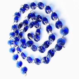 ghirlande di perle di vetro Sconti 10 metri / lotto Glittering Crystal 14mm Ottagono perline vetro blu ghirlande fili, perline di cristallo fai da te Tenda per la decorazione domestica