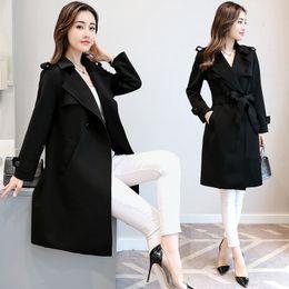 e1c64ef0931a Windbreaker female medium length 2018 spring suit new big code woman s fat  MM Han edition body cultivation jacket 200 Jin coat tide discount black  women big ...