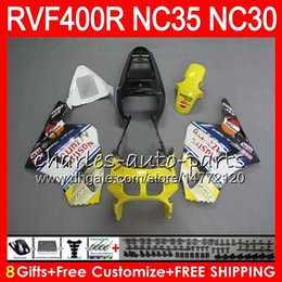 Carenado vfr amarillo online-VFR400R Amarillo negro Para HONDA NC35 V4 RVF400R 1989 1990 1991 1992 1993 82HM.52RVF VFR 400 R NC30 VFR 400R VFR400 R 89 90 91 92 93 Carenados