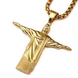 Jesus cristo on-line-2018 novo aço inoxidável ouro christ redentor pingente de colar homem brasil rio de janeiro estátua jesus charme cubano cadeia de jóias