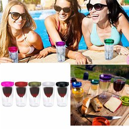 Wholesale wholesale acrylic wine glasses - 10oz Double-wall Acrylic wine Tumbler glasses cup tumbler cups with red lid for party wedding beer mugs Kids Cup Hydration Gear AAA397