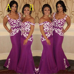 2018 Plum Purple Long Mermaid Bridesmaid Dresses Off Shoulder White Lace  Appliques Satin Wedding Guest Dress Plus Size Maid Of Honor Gowns plum  mermaid ... 6b290ed95e8f