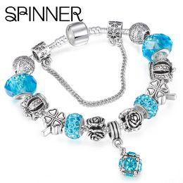 Wholesale Original Agate - SPINNER European Style Vintage Silver plated Crystal Charm Bracelet Women fit Original DIY Pandora Bracelet Jewelry Gift